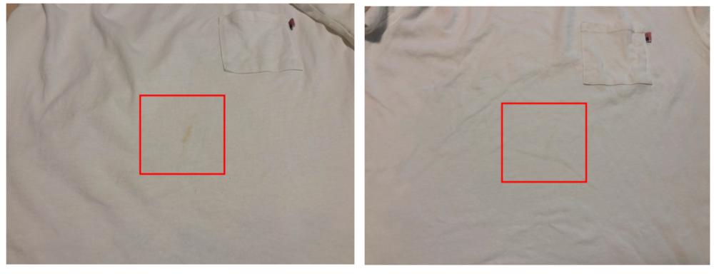 白のTシャツにコーヒーをこぼしたのでマグネシム(洗濯まぐちゃん)を使って洗った きれいに目立たなくなりました。